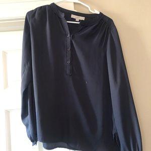 Gray silk long sleeve blouse